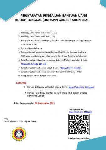 Pengumuman pendaftaran beasiswa bantuan UKT/SPP Tahun 2021 Ganjil STMIK Triguna Dharma.