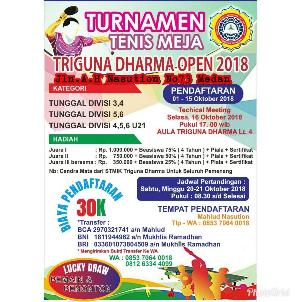 TURNAMEN TENIS MEJA TRIGUNA DHARMA OPEN 2018